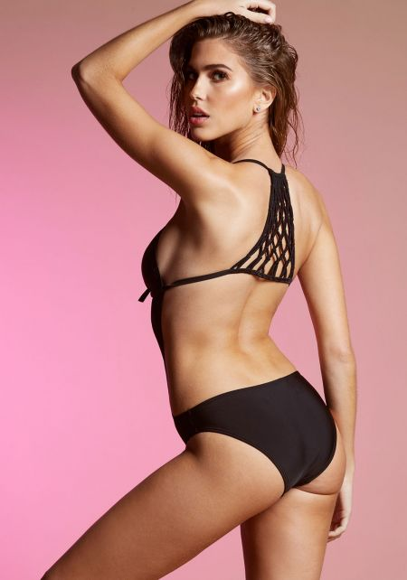 Black Macrame Cut Out Monokini