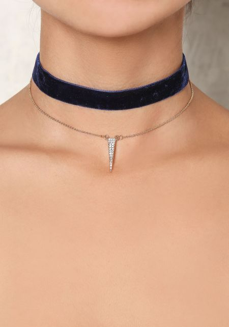 Gold Delicate Necklace & Navy Choker Set