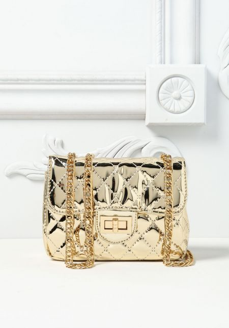 Gold Pantent Quilted Mini Crossbody Bag