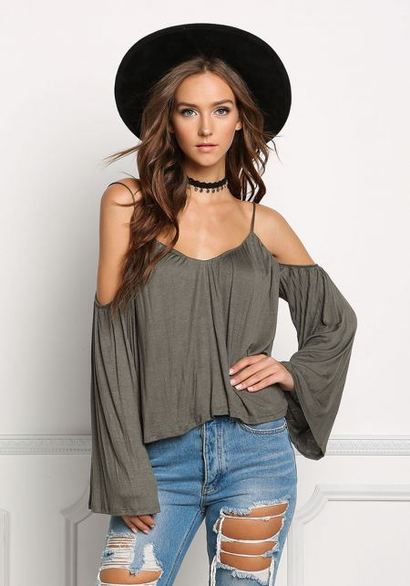 Olive Jersey Knit Cold Shoulder Flowy Top