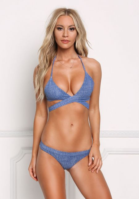 Denim Print Tie Back Triangle Swimsuit Bikini Top