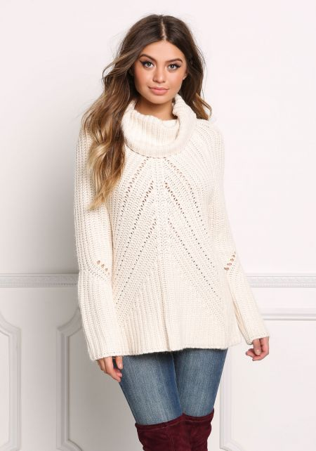 Ivory Thick Knit Turtleneck Sweater Top