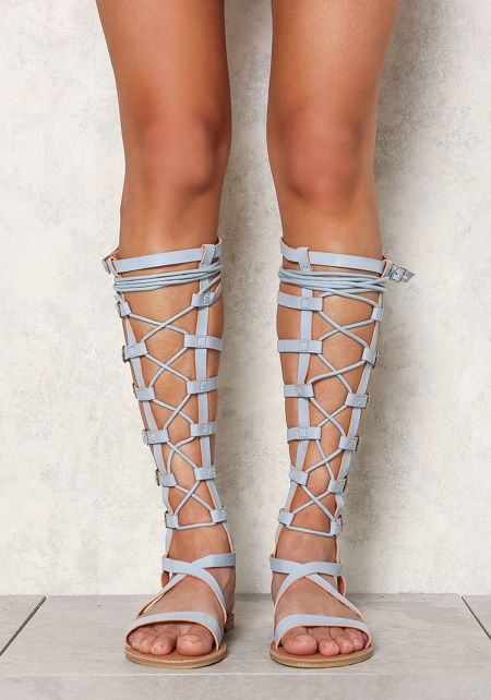 Baby Blue Leatherette Lace Up Gladiator Sandals