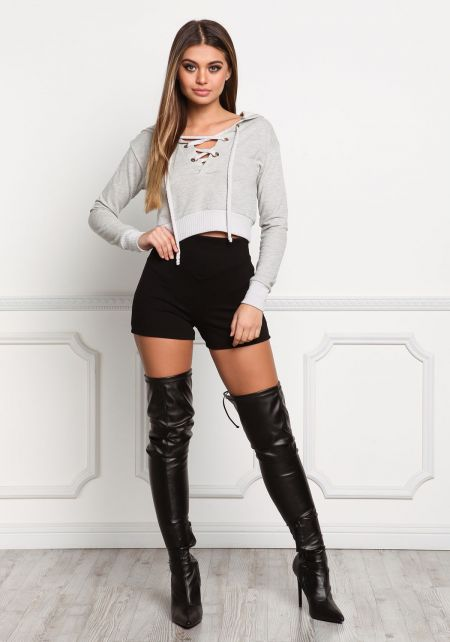 Heather Grey Lace Up Hooded Crop Top