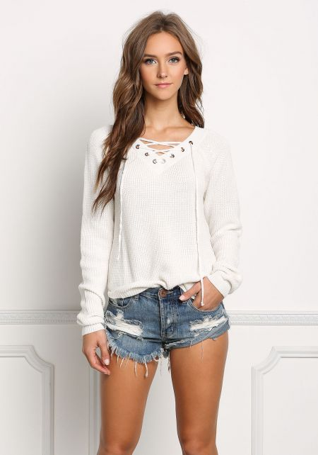 Ivory Lace Up Sweater Top