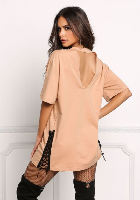 Nude V Cut Out Side Lace Up Tunic Top