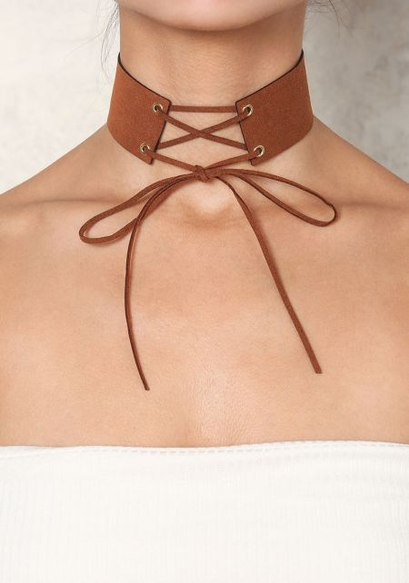 Brown Suedette Lace Up Choker