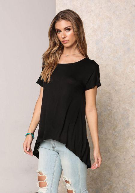 Black Jersey Knit Hi-Lo Top