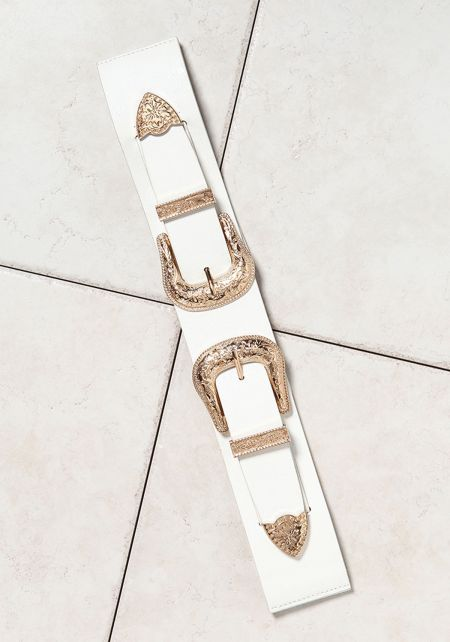 White Leatherette Double Buckle Belt