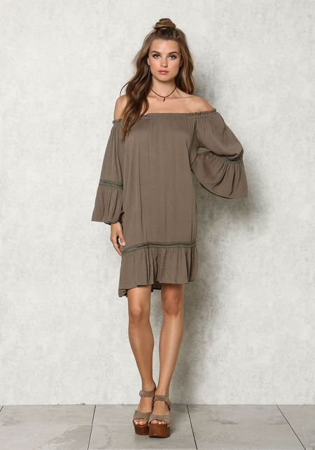 Olive Crepe Off Shoulder Bell Sleeve Shift Dress