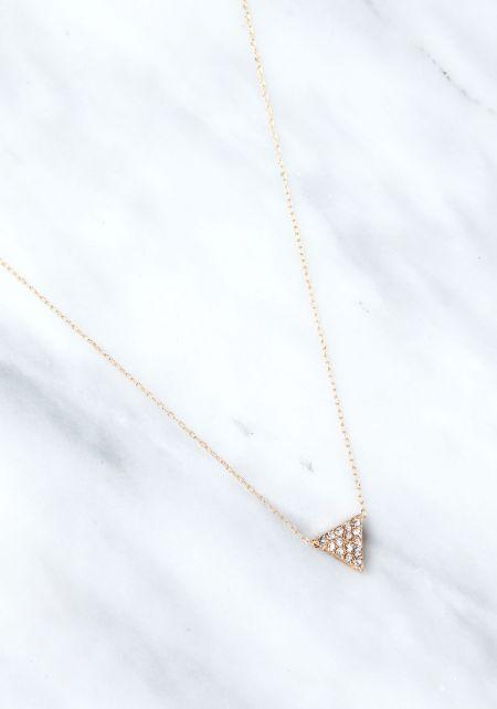 Gold Triangle Rhinestone Delicate Necklace