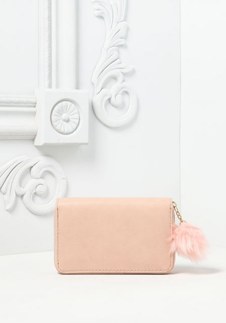 Blush Medium Sized Leatherette Pom Pom Wallet