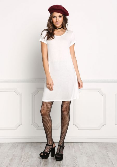 White Jersey Knit T-Shirt Shift Dress