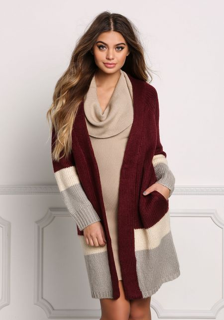Burgundy Color Block Thick Knit Cardigan