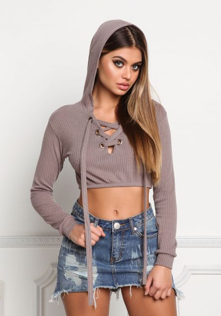 Cocoa Lace Up Hooded Crop Top