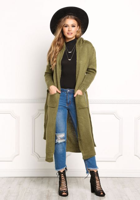 Olive Longlined Hooded Thick Knit Cardigan