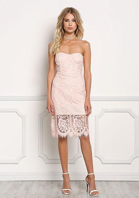 Blush Floral Lace Bodycon Dress