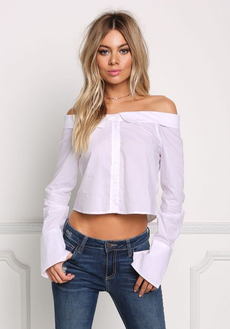 White Off Shoulder Cropped Blouse