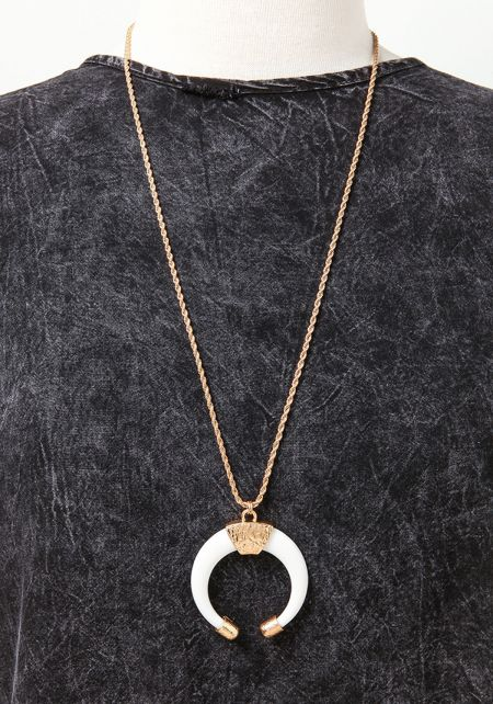 White Curved Stone Delicate Necklace