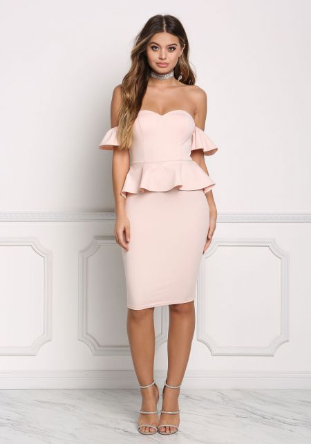 Blush Off Shoulder Peplum Bodycon Dress