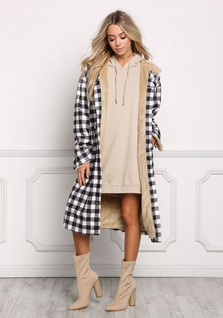Black and White Faux Fur Gingham Longlined Jacket