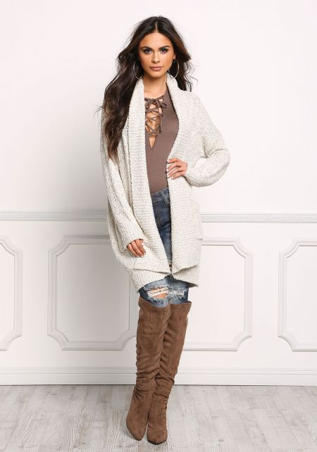 Oatmeal Chunky Knit Open Front Cardigan