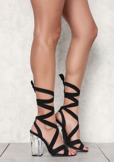 Black Suedette Lace Up Clear Heels