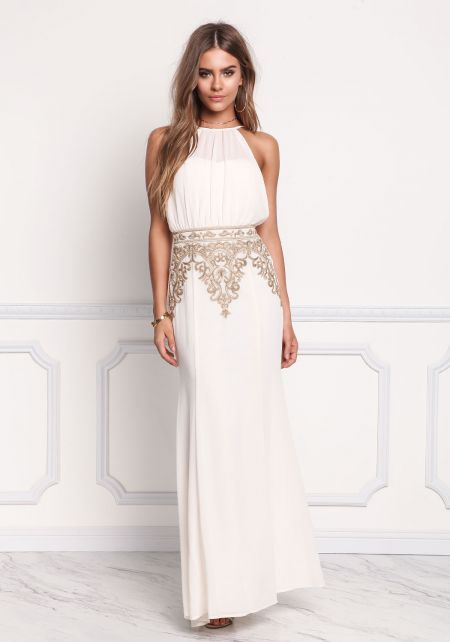 Cream Chiffon Embroidered Maxi Gown