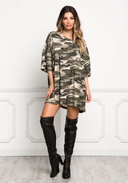 Camouflage Super Soft Washed Over Sized Tunic Top