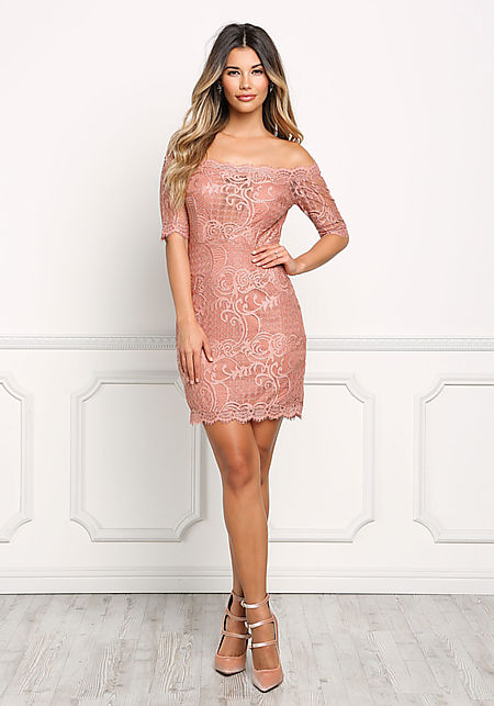 Dusty Rose Lace Off Shoulder Scallop Dress