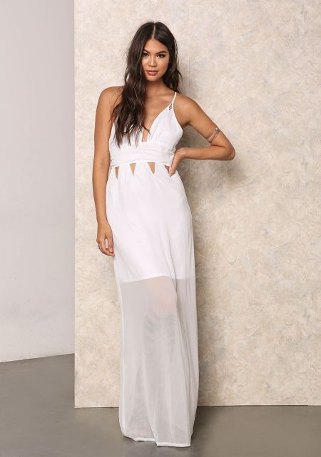 White Chiffon Cut Out Maxi Dress
