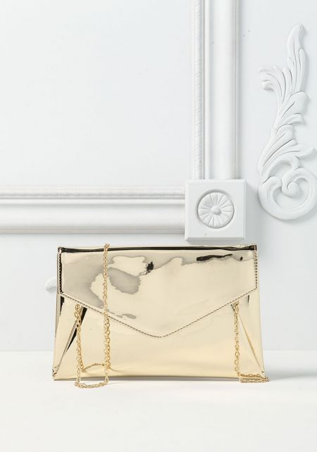 Gold Envelope Chrome Clutch