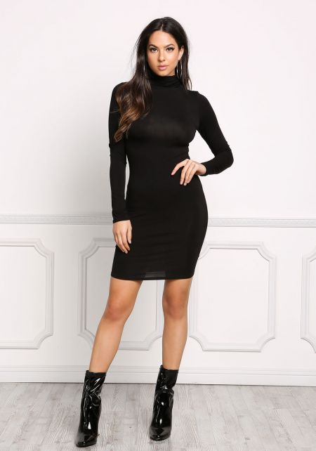 Black Jersey Knit Mock Neck Bodycon Dress