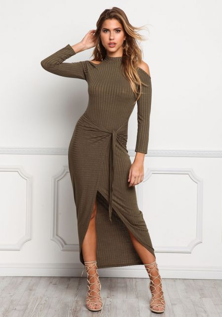 Olive Cold Shoulder Tied Waist Maxi Dress