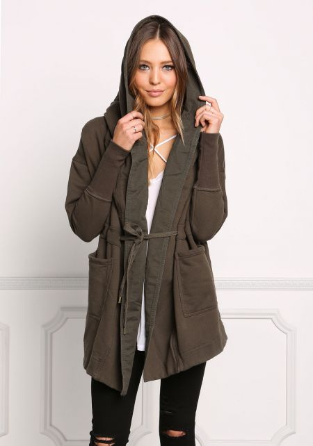 Olive Thick Knit Hooded Utility Jacket