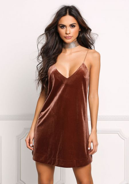 Brown Velvet Plunge Slip Dress