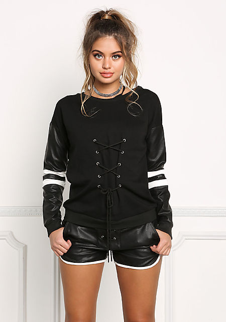 Black Leatherette Trim Lace Up Sweater Top