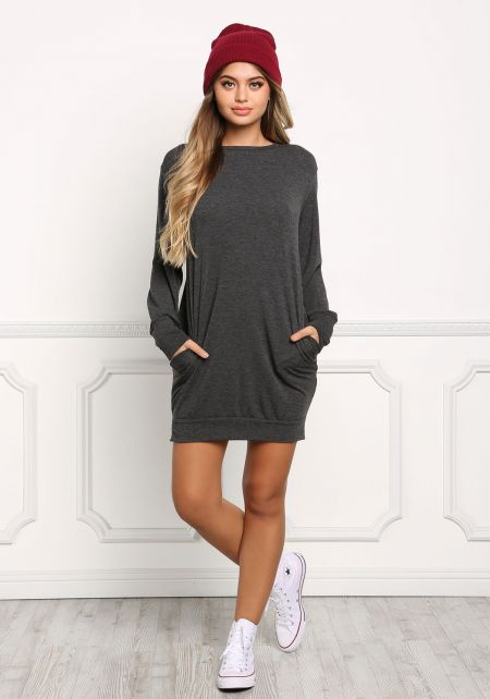 Charcoal Pullover Sweater Dress