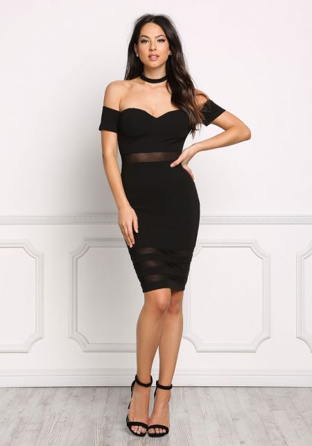 Black Off Shoulder Mesh Inset Bodycon Dress
