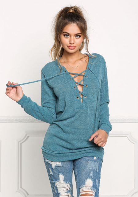 Teal Lace Up Sweater Top