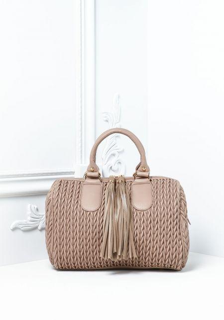 Stone Textured Leatherette Tassel Handbag