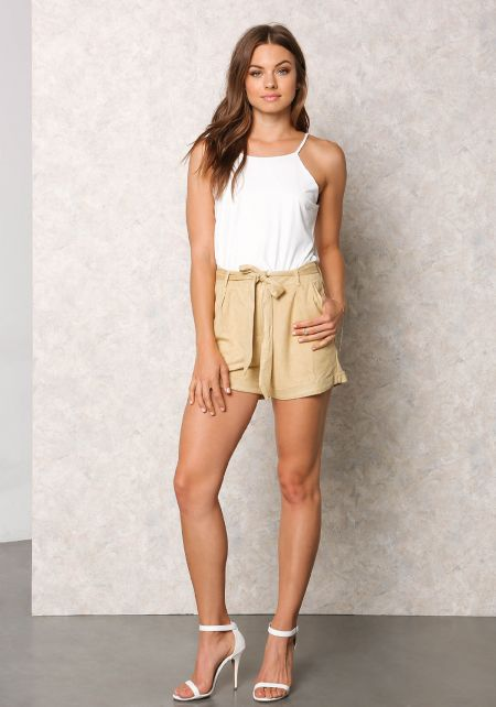 Mustard Suedette High Rise Cinched Shorts