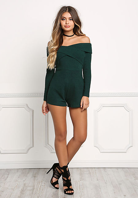 Hunter Green Cross Over Off Shoulder Romper