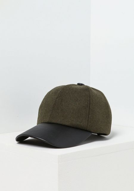 Olive Leatherette & Wool Baseball Cap