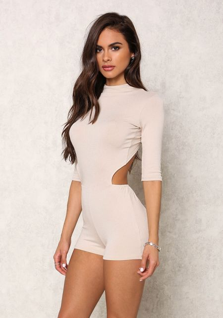 Taupe Back Cut Out Romper