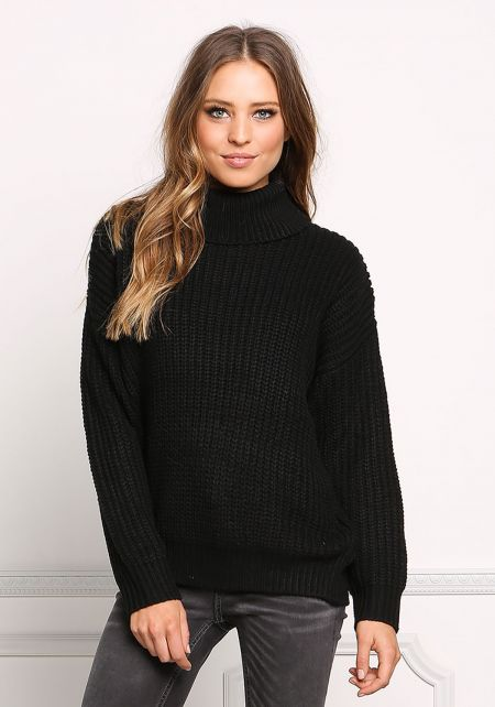 Black Chunky Knit Turtleneck Sweater Top