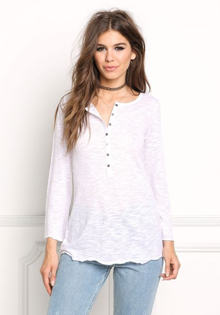 White Burnout Button Up Top