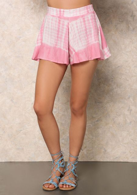 Pink Tie Dye Flared Shorts