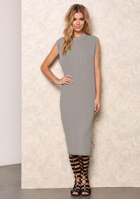 Striped Ribbed Knit Boxy Tank Dress