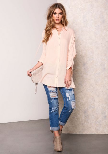 Blush Lace Up Back Collared Shirt